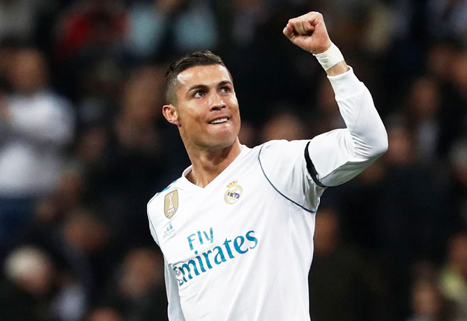 Real Madrid's Cristiano Ronaldo celebrates scoring their second goal against Borussia Dortmund on Wednesday
