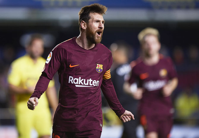 Rediff Sports - Cricket, Indian hockey, Tennis, Football, Chess, Golf - Barca 'sharp shooter' Messi equals Bayern legend Mueller's record