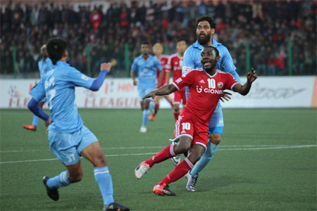Action from the match between Shillong Lajong and Churchill Brothers during the I-League match on Sunday
