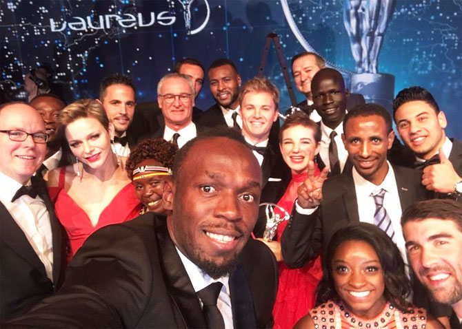 Usain Bolt takes a selfie with the other winners on the night of the Laureus Sports Awards in Monte Carlo, Monaco, on Tuesday