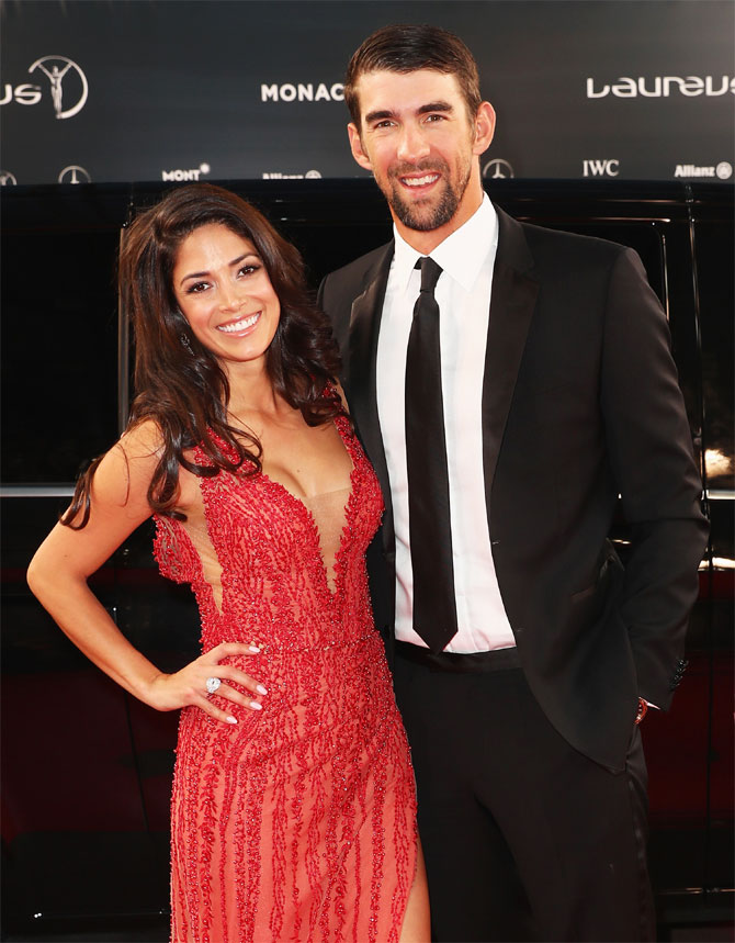 Laureus World Comeback of the Year winner swimmer Michael Phelps and wife Nicole Phelps at the 2017 Laureus World Sports Awards at the Salle des Etoiles,Sporting Monte Carlo in Monaco on Tuesday