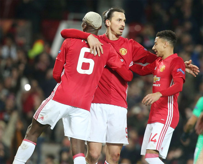 Manchester United's Zlatan Ibrahimovic celebrates scoring a goal with teammates during their Europa League match against St Etienne on Thursday