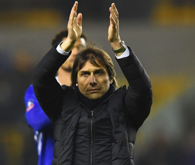 Rediff Sports - Cricket, Indian hockey, Tennis, Football, Chess, Golf - Conte keeps feet on ground as Chelsea edge closer to double