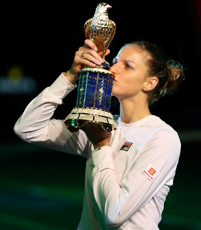 Rediff Sports - Cricket, Indian hockey, Tennis, Football, Chess, Golf - Qatar Open: In-form Pliskova wins second title of the year