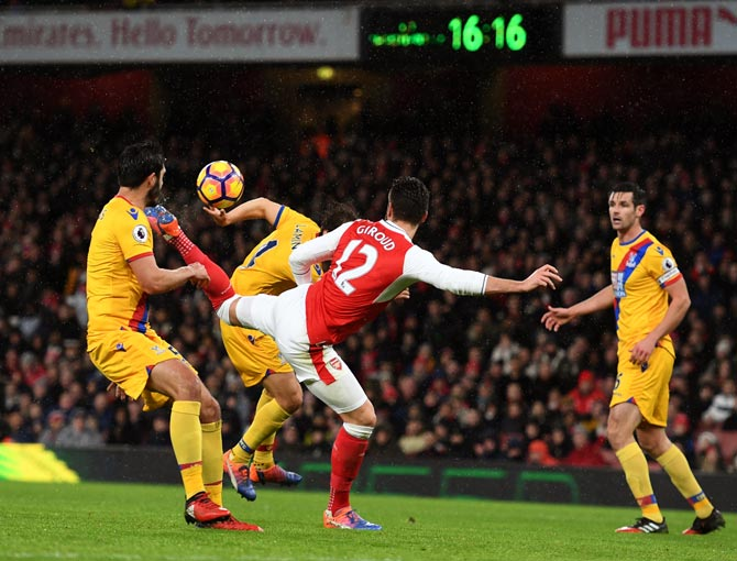 Olivier Giroud scores the opening goal for Arsenal against Crystal Palace in January this year