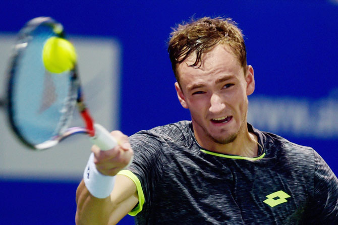 Russia's Daniil Medvedev in action against Brazil's Thiago Monteiro during their first round match of the ATP Chennai Open at SDAT Tennis Stadium in Chennai on Monday