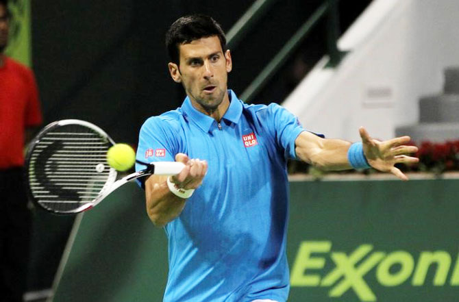 Novak Djokovic in action against Germany's Jan-Lennard Struff at the Qatar Open on Monday