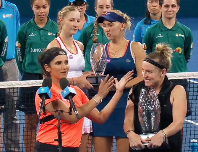 Sania Mirza speaks as her doubles partner and newly-crowned World No 1 doubles player Bethanie Mattek-Sands gushes with pride after the duo won the Brisbane International doubles title on Saturday