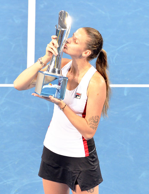 Czech Republic's Karolina Pliskova celebrates victory after beating France's Alize Cornet to win the 2017 Brisbane International women's final at Pat Rafter Arena in Brisbane on Saturday