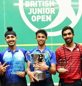 Second-placed Abhay Singh, winner Velavan Senthilkumar and third-placed Adhitya Raghavan on the podium after sweeping the top-places at the British Junior Open in Sheffield, United Kingdom, on Saturday