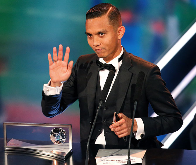 Mohammad Faiz Subri speaks after he received the Goal of the Year Award.Photograph: Ruben Sprich/Reuters