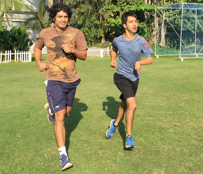 Nihad Panju (right) and his gym instructor Rustom Warden train at the CCI Grounds in Mumbai