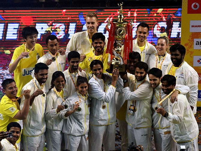 Rediff Sports - Cricket, Indian hockey, Tennis, Football, Chess, Golf - Chennai edge past Mumbai to win Premier Badminton League title