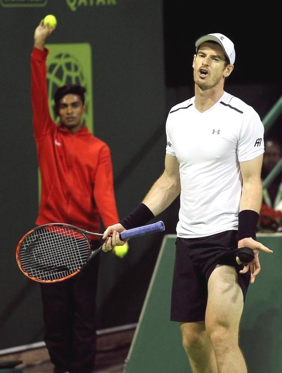 Andy Murray reacts during the Qatar Open final