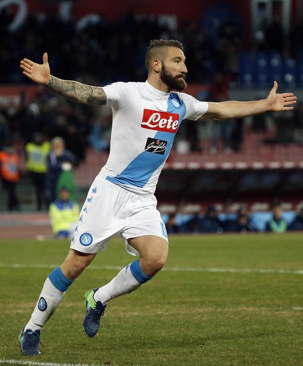Napoli's Lorenzo Tonelli celebrates after scoring second goal