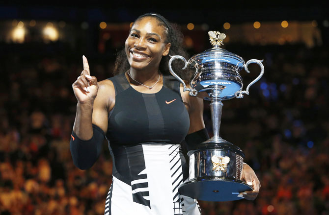 Serena Williams with her historic Australian Open title she won on January 28, 2017