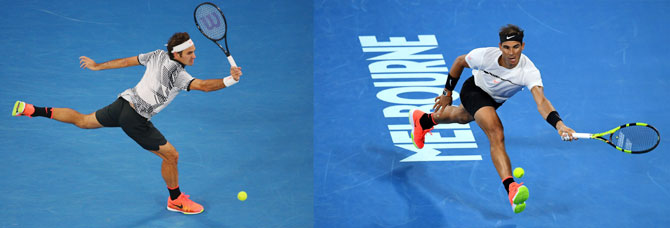 A combination image of Roger Federer (left) and Rafael Nadal who face each other in the 2017 Australian Open final on Sunday, January 29, 2017 at Melbourne Park.
