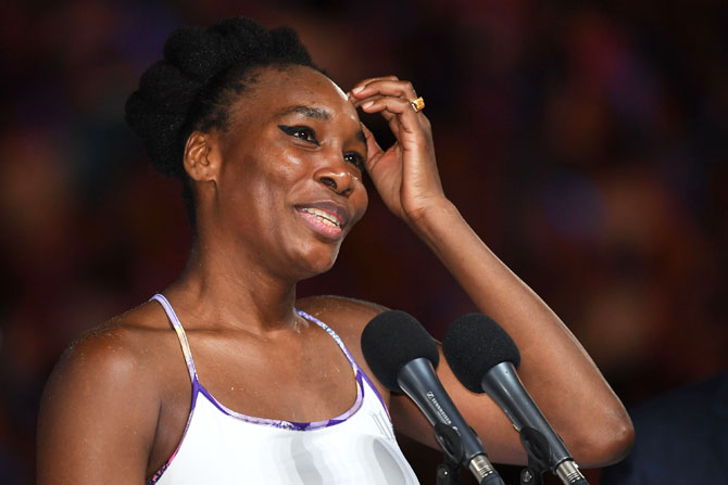 Venus Williams addresses the crowd after her the Australian Open singles final on Saturday