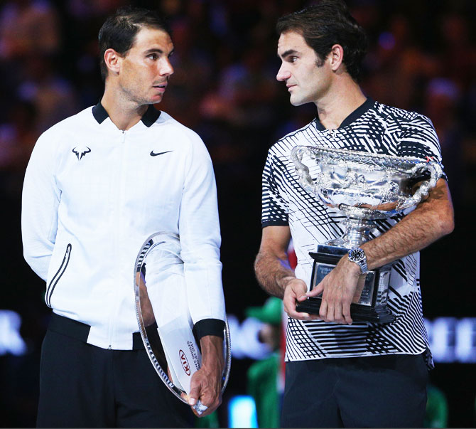 Roger Federer and Rafael Nadal after the Australian Open final at Melbourne Park on Sunday