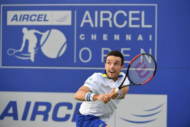 Spain's Roberto Bautista Agut plays a return against Danill Medvedev in the Chennai Open final on Sunday