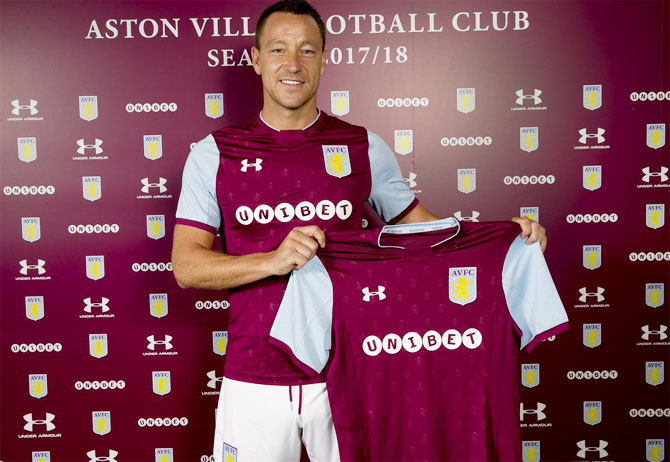 John Terry is unveiled as an Aston Villa player on Monday