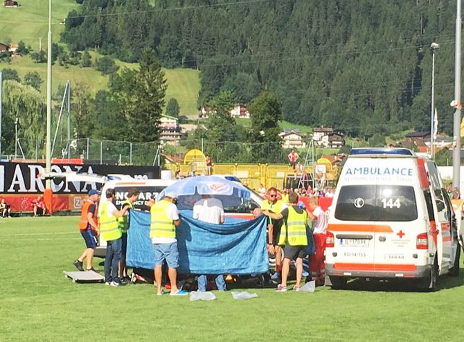 Ajax Amsterdam midfielder Abdelhak Nouri recieves medical attention after collapsing on the field during a pre-season friendly against Werder Bremen in Austria on Saturday