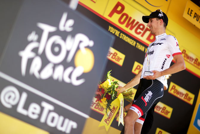 Dutchman Bauke Mollema, riding for Trek - Segafredo won the 189.5-km stage from Laissac-Severac L'Eglise to Le-Puy-en-Velay during Tour de France on Sunday