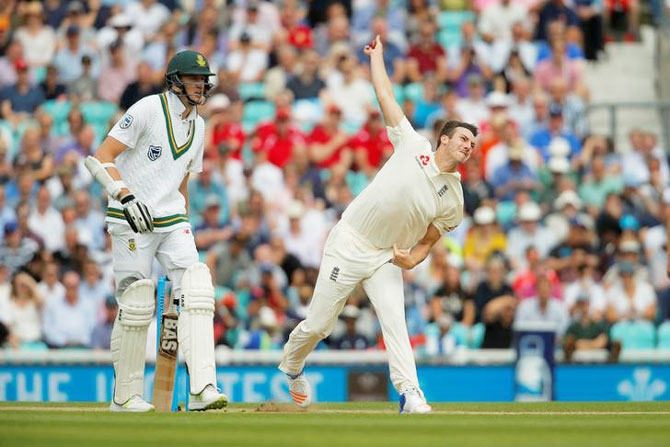 England's Toby Roland-Jones completed a five-wicket haul on Day 3 of the third Test against South Africa at the Oval in London on Saturday
