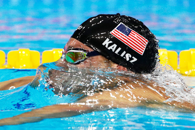 Chase Kalisz of the United States competes during the Men's 400m Individual Medley Final on Sunday