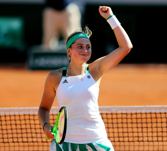 Rediff Sports - Cricket, Indian hockey, Tennis, Football, Chess, Golf - Holder Ostapenko in action on opening day of French Open