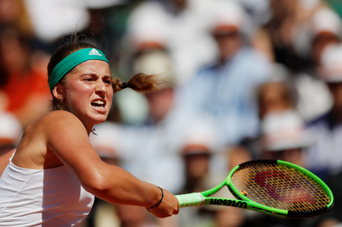 Latvia's Jelena Ostapenko in action during the French Open final against Romania's Simona Halep at the Roland Garros in Paris on Saturday