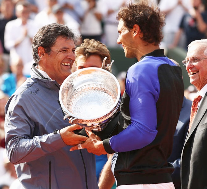 Rafael Nadal with coach and uncle Toni Nadal after winning his 10 French Open title in June this year