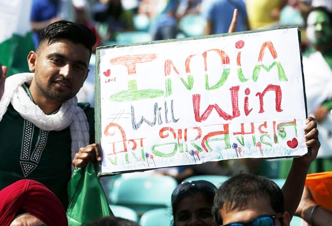 India fans before the match at the Oval in London on Sunday