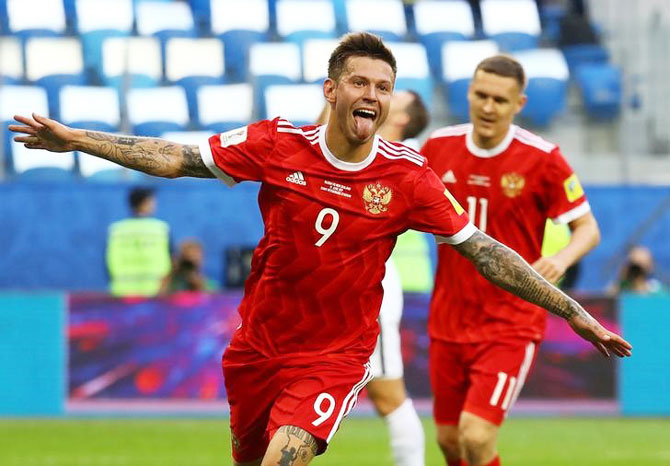 Russia's Fedor Smolov celebrates scoring their second goal against New Zealand during their FIFA Confederations Cup Group A match at Saint Petersburg Stadium, St.Petersburg, Russia, on Saturday