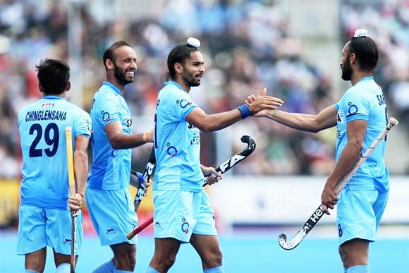 India players celebrate a goal against Pakistan during the HWL Semi-Final in London on Sunday