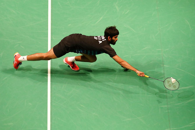 India's Kidambi Srikanth in action against Korea's Son Wan Ho during their Round of 16 match at the Australian Badminton Open at Sydney Olympic Park in Sydney, on Thursday