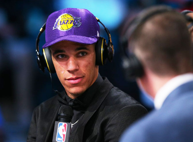 Lonzo Ball (UCLA) is interviewed after being introduced as the number two overall pick to the Los Angeles Lakers in the first round of the 2017 NBA Draft at Barclays Center on Thursday