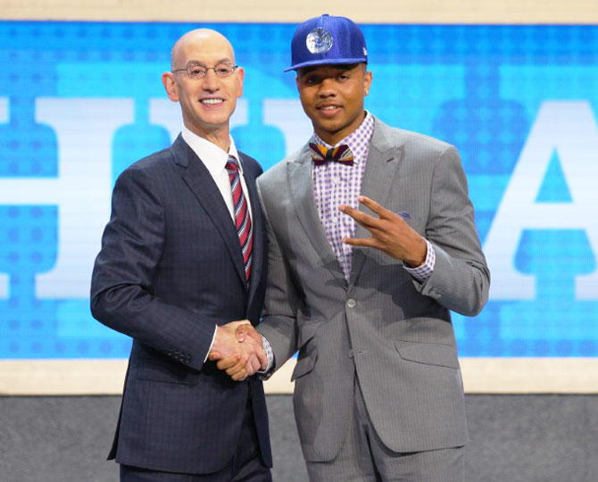 Markelle Fultz (Washington) is introduced by NBA commissioner Adam Silver as the number one overall pick to the Philadelphia 76ers in the first round of the 2017 NBA Draft at Barclays Center in Brooklyn, New York, on Thursday