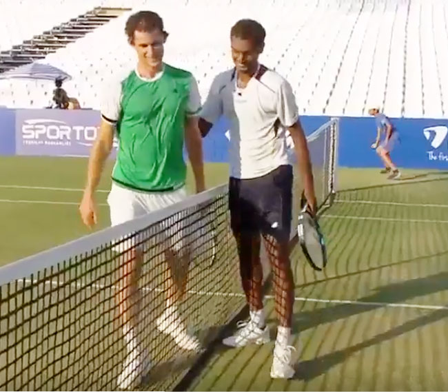 Dominic Thiem and Ramkumar Ramanathan greet at the net after the latter's upset win at the Antalya Open in Turkey on Tuesday