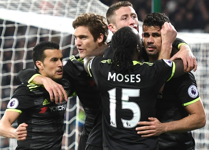 Leaders Chelsea are ten points ahead of 2nd placed Tottenham Hotspur