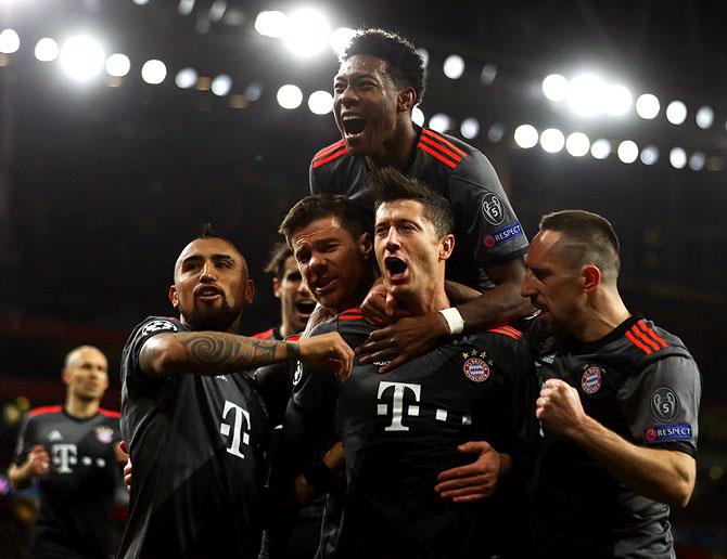 Rediff Sports - Cricket, Indian hockey, Tennis, Football, Chess, Golf - PHOTOS: Bayern humiliate dispirited Arsenal 10-2 on aggregate