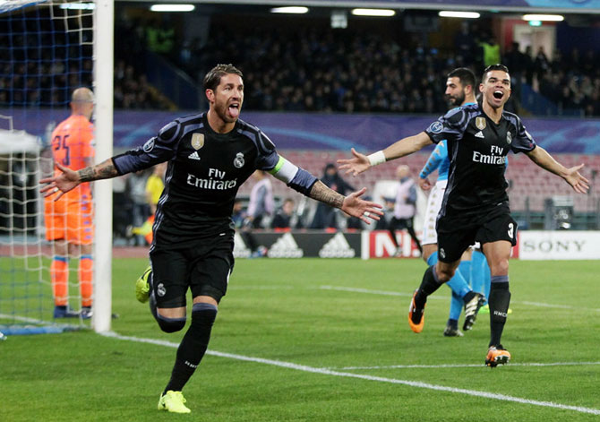 Rediff Sports - Cricket, Indian hockey, Tennis, Football, Chess, Golf - PHOTOS: Ramos double rescues Real Madrid
