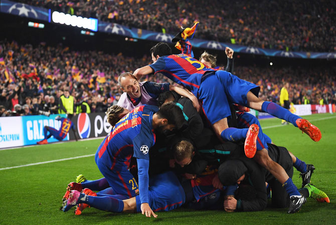 Rediff Sports - Cricket, Indian hockey, Tennis, Football, Chess, Golf - Post Camp Nou heroics, Barca now Champions League favourites