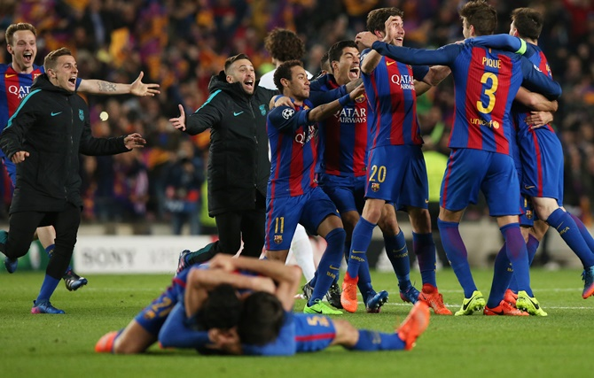 Rediff Sports - Cricket, Indian hockey, Tennis, Football, Chess, Golf - Barcelona pull off the mother of all comebacks