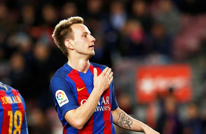 Rediff Sports - Cricket, Indian hockey, Tennis, Football, Chess, Golf - After 'crazy' win, Rakitic agrees new deal with Barcelona
