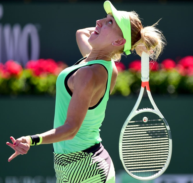 Rediff Sports - Cricket, Indian hockey, Tennis, Football, Chess, Golf - Indian Wells: Vesnina upsets Kerber to meet Venus in quarters