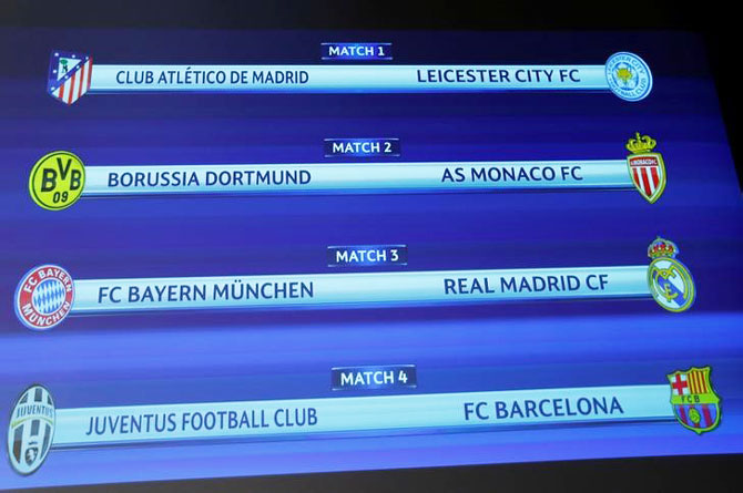 A screen shows the order of the draw of the UEFA Champions League quarter-finals, in Nyon, Switzerland on Friday