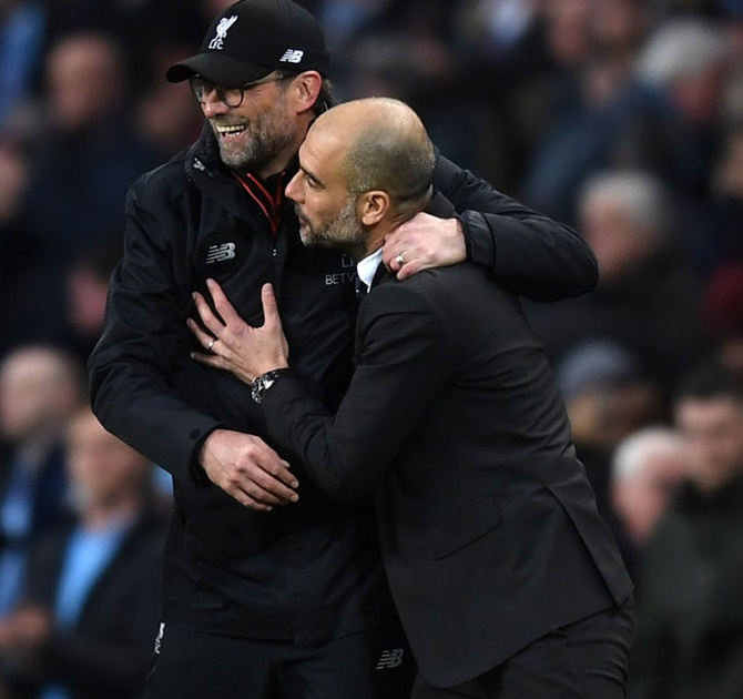 Rediff Sports - Cricket, Indian hockey, Tennis, Football, Chess, Golf - Guardiola 'happy and proud' as City draw with Liverpool