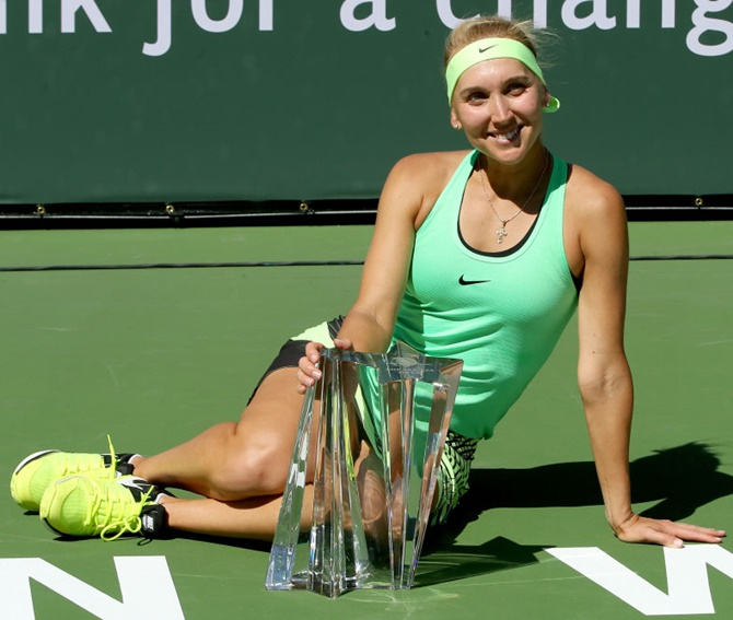 Rediff Sports - Cricket, Indian hockey, Tennis, Football, Chess, Golf - Vesnina outlasts Kuznetsova in marathon Indian Wells final