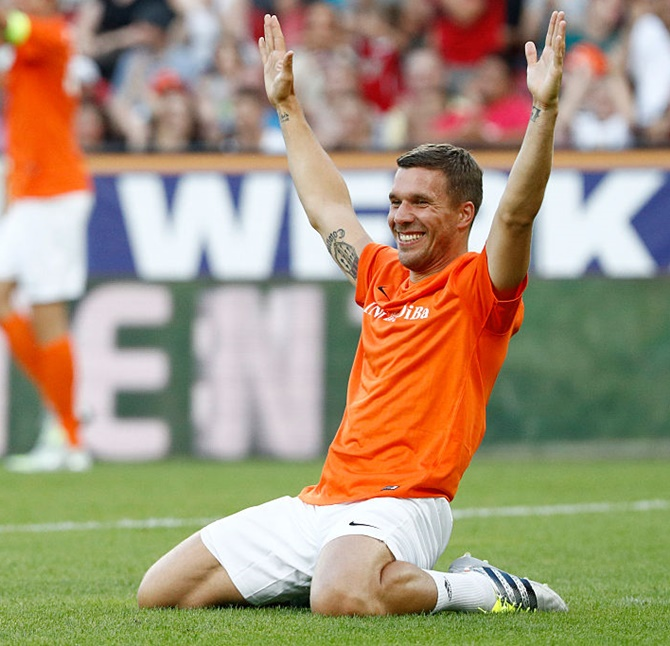 Rediff Sports - Cricket, Indian hockey, Tennis, Football, Chess, Golf - A perfect stage set for Podolski's farewell
